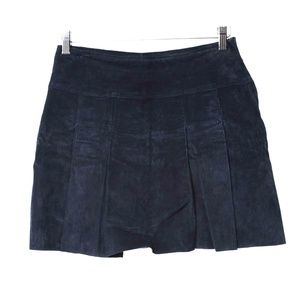 Wilsons Maxima Navy Suede Pleated Front Mini Skirt